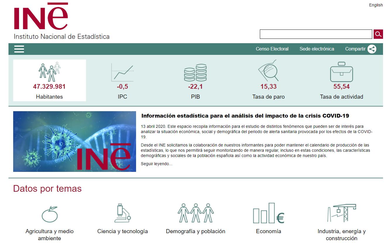 Web del Instituto Nacional de Estadística