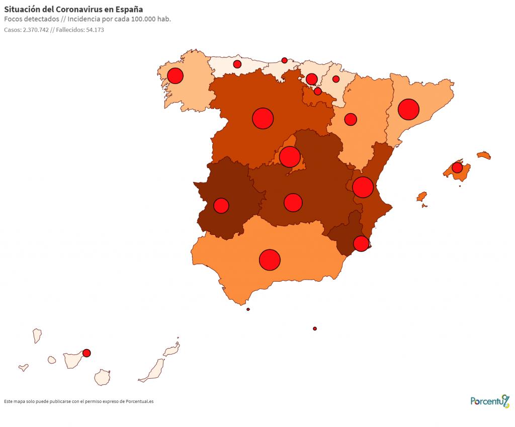 Situación del Coronavirus por Comunidades Autónomas
