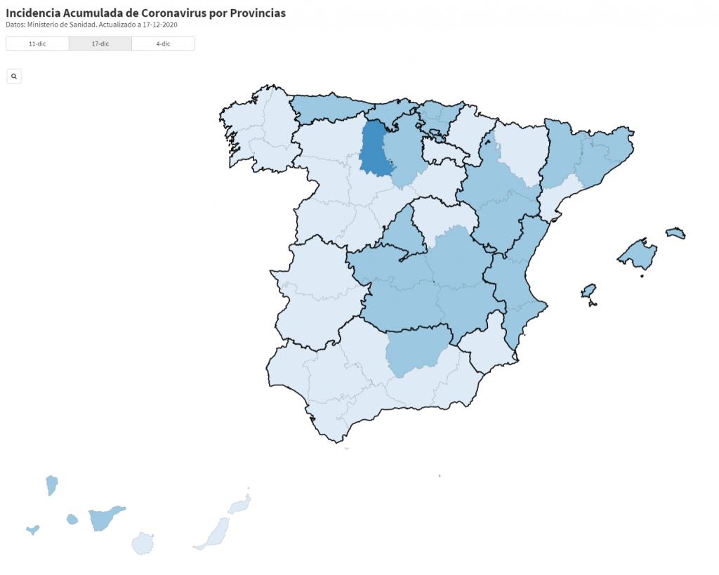 Incidencia Acumulada de Coronavirus por Provincias