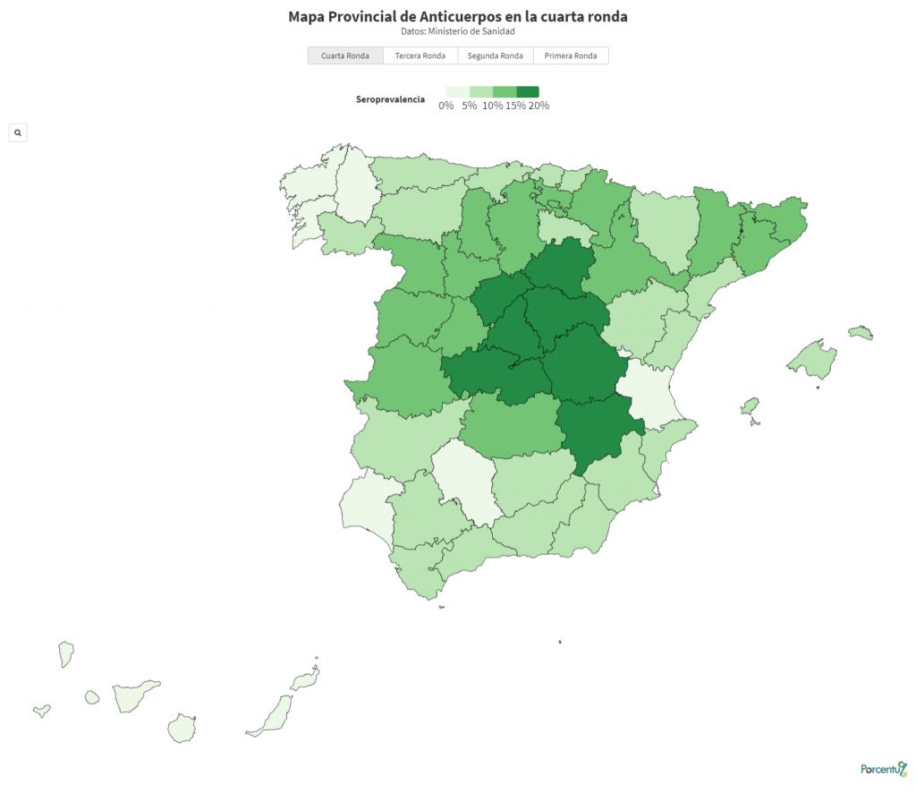 Mapa de seroprevalencia por provincias